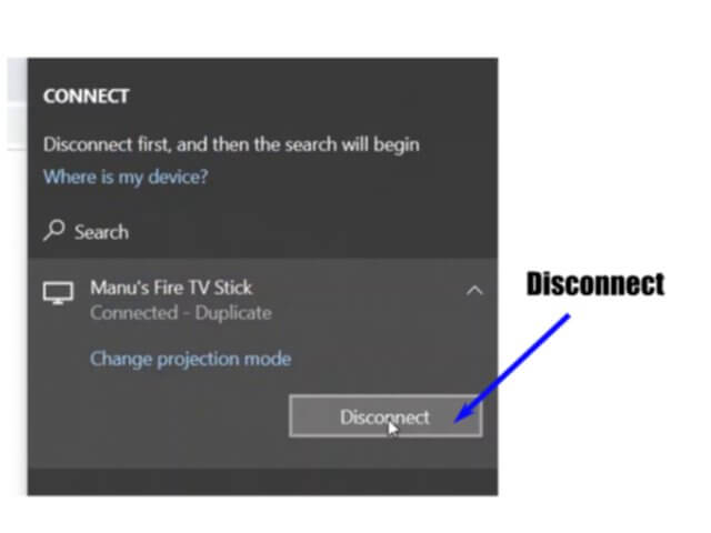 disconnect screen mirroring fire tv