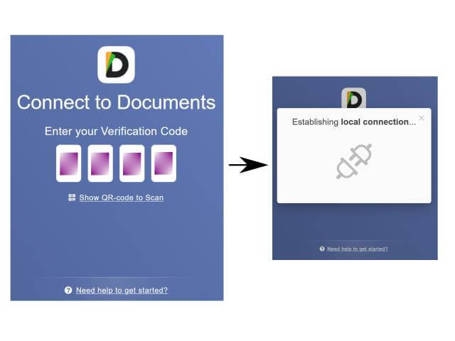 Access documents App from laptop